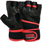 Leather Weight Lifting Gloves Gym Fitness Training Exercise Long Velcro Strap