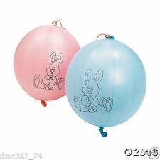 """12 EASTER Spring Party Favors Rubber Easter Bunny PUNCH BALL Balloons 10"""""""