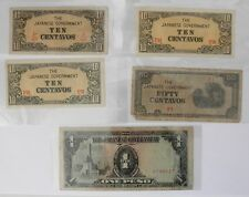 Five Paper Currencies From The Japanese Government~Ww Ii Era
