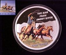 2010 Tuvalu Large Silver Proof color $1 Banjo Paterson,Snowy River,Nice Gift Box