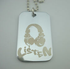 "Silver"" Listen"" Plate Pendant Chain Necklace 19$ Staple Obey"
