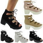 LADIES WOMENS LACE UP CUT OUT LACE MID BLOCK HEEL ANKLE SANDALS SHOES BOOTS SIZE
