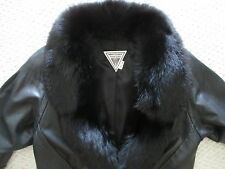 Marvin Richards Fox Fur trimmed Black Leather Coat Jacket Size M