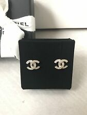 BNIB CHANEL CLASSIC GOLD PLATED RHINESTONE CC LOGO EARRINGS 2017