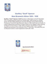 GEOFF SPENCER WEST BROMWICH ALBION 1938-1939 VERY RARE ORIG HAND SIGNED CUTTING