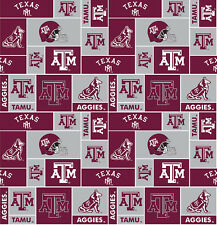 College University of Texas A&M Aggies Print Fleece Fabric by the yard #stam012s