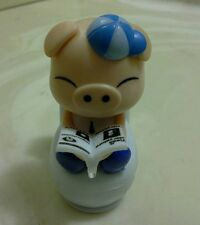 SOLAR POWERED (BOY) BOBBLE HEAD BLUE PIG ON TOILET..(•_•).(•_•).(•_•)...