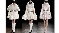 New Alexander McQueen ivory jacquard coat with detachable fur collar UK 8-10