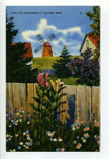 Chatham MA Mass linen windmill, fence, flowers, homes