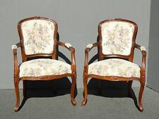 Pair of Vintage French Provincial Country Carved ACCENT CHAIRS Lit Floral Print