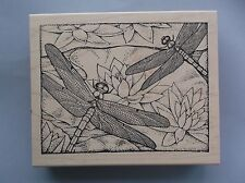 PEDDLER'S PACK RUBBER STAMPS LARGE DRAGONFLY BACKGROUND NEW STAMP