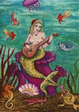 ACEO PRINT OF PAINTING RYTA SINGING MERMAID SEAHORSE BANJO NUDE FEMALE SEASCAPE