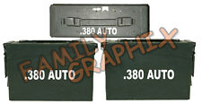 """.380 AUTO ammo box( DECALS) two 7""""x 1.5"""" one 4""""x0.75"""" NO BOX INCLUDED"""