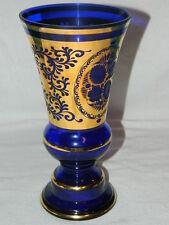 Large Bohemian Czech Cobalt Blue Glass Gilded Vine Vase Signed Egermann Flared