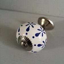 Bianco Blu modello CASSETTO PULL IN CERAMICA PORTA Manopola Maniglia Cucina Camera da Letto Decor