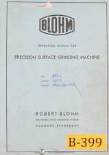 Blohm HFS6, Surface Grinding Machine, Operating and Parts German Manual 1959