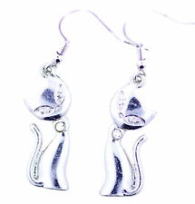 hyper cute silver tone kitty cat kitten dangle earrings