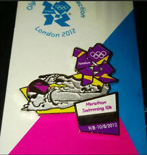 LONDON 2012 OLYMPICS MARATHON SWIMMING VENUE SPORTS POSE  PIN BADGE