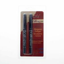 2 MANUSCRIPT CALLICREATIVE BLACK ITALIC CALLIGRAPHY MARKER PENS ASSORTED NIBS