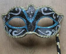 Venetian Masquerade Mask on STICK HAND HELD TURQUOISE BLUE GOLD BLACK BRONZE