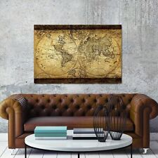 """Decor Art Canvas Painting Vintage World Map Wall Print Home Living Room 24x35"""""""