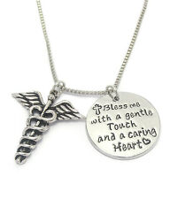 NURSE Caduceus Round Disc Bless Me With A Gentle Touch &  Caring Heart Necklace