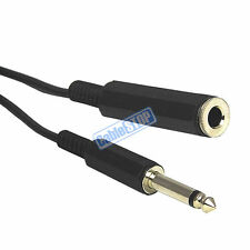 "6 METRE 6.35mm MONO 1/4"" Male Jack Plug to Female Socket EXTENSION Cable Lead 6m"