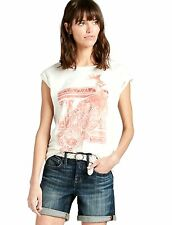 Lucky Brand - L - NWT - Marshmallow & Coral Watercolor Peacock Cotton T-Shirt