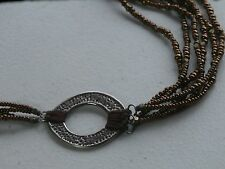 """Silpada 18-20"""" Sterling Silver 6 Strand Copper Bronze Bead Asymetrical Necklace"""