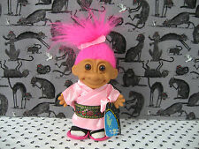 """Troll Vintage Russ 4.5"""" Trolls Around the World JAPAN Pink Hair w/ Shoes & Tag"""