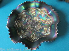Antique Northwood Grapes & Cable Basketweave Piecrust Bowl Iridescent Amethy[113