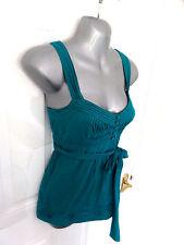 ❤ MONSOON Gorgeous Size 10 Deep Aqua 100% Cotton Blouse Top Side Zip Tie Belt