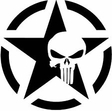 "Army Star Punisher Skull Jeep Military Decal, 2 PCS, 6""x 6"", BLACK MATTE"