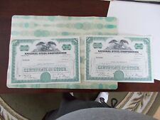 NATIONAL STEEL CORPORATION 2 - 100 SHARES STOCK CERTIFICATES 1 FROM 1970 & 1971