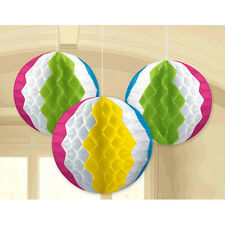 SUMMER BEACH BALL HONEYCOMB DECORATIONS (3) ~ Birthday Party Supplies Ocean Deco