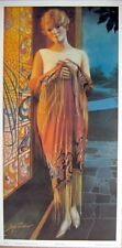 art print~DECO LADY~Gene Pressler tall woman stained glass vtg repro 9.5x19