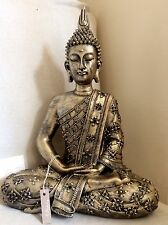 Large Beautifully Detailed Buddhas Statue. Adorned  In JET Swarovski Elements