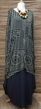 LAGENLOOK AMAZING BEAUTIFUL PRINT 2 POCKETS LONG TUNIC*GREY*L-XL BUST UP TO 48""
