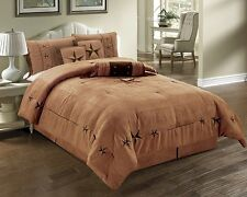 New Oversize Embroidered  Western Texas Lone Star Bedding  7 PCS Comforter Set.