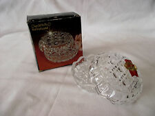 Vintage Anna Hutte Jewellery Dish with Lid 24% Lead Bleikristal Boxed & Sticker