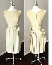 Crepe Embroidered Gold Pleated Wrap Belted Vintage 60s Cocktail Dress S