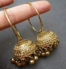 Antique Vintage Gold Plated Jhumki with 5 cm DIameter Ring Earrings Jhumka Set.,