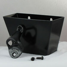 Starr Standard Black Combo Wall Mount Bottle Opener and Black Metal Cap Catcher