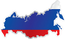 "Russia Country Flag Map Car Bumper Window Mirror Sticker Decal 5""X4"""