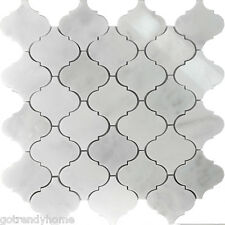 Sampl White Marble Natural Stone Moroccan Pattern Mosaic Tile Kitchen Backsplash
