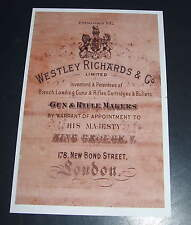 Westley Richards Gunmakers UN-FRAMED Gun Case Label repo Accessories Type 6