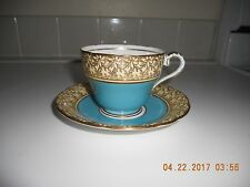 Aynsley Tea Cup and Saucer Turquoise w/ Heavy Gold Leaf Design C163