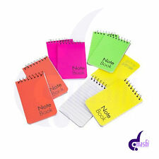 8 MINI NOTE PADS Spiral Bound A7 Note Book  Notebooks with Plastic Cover