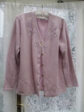 LADIES PINK CARDIGAN with embroidery & beading size 18 - 20