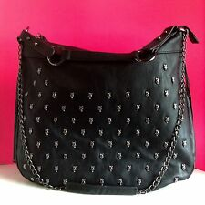 Betsey Johnson SOLD OUT Handbag SKULL STUD Silver BLACK Faux Leather DOME Bag